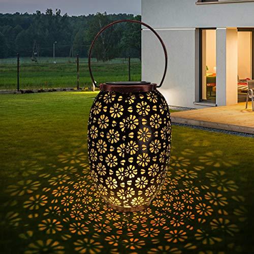 Solarlaterne für Außen, QXMCOV LED Solar Laterne Gartenlicht Outdoor Solarleuchten Retro Hängend Solarlampen, Wasserdicht Metall Solarlampe Dekorationen für Außen Garten Balkon Hof Pfad Terrasse