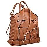 Paula Rossi bolso mochila mujer antirrobo chaqueta casual marron camel barata elegante grande original polipiel seguro tachuelas vintage (marrón)
