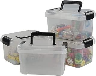 Teyyvn Plastic Mini Latch Box, Storage Bin with Locking Lids(Pack of 4, 2 L, Clear)