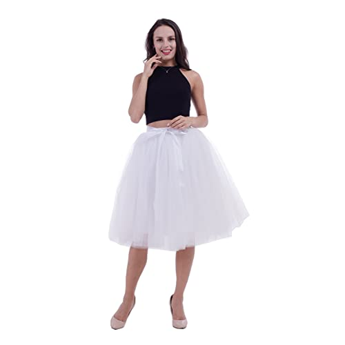 0f359e392 kephy Women's Adult 7 Layered Pleated Tulle Tutu Skirt A Line Knee Length  Petticoat Prom Party