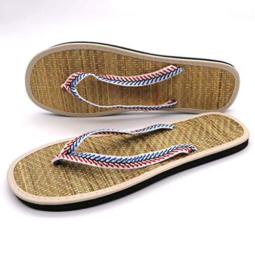 GHX Flip-Flops Estera de Paja Chanclas Zapatos de Tela en casa,D,38