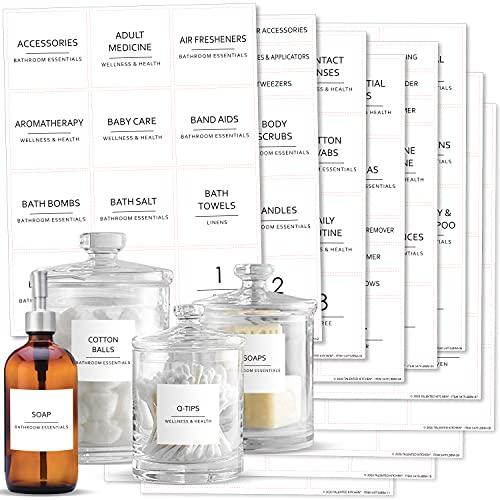 Talented Kitchen 174 Minimalist Bathroom Labels Set with Makeup Labels, Black Print on White Matte Backing, Water Resistant. 174 Bathroom, Beauty & Makeup Vinyl Stickers. Organization Storage System