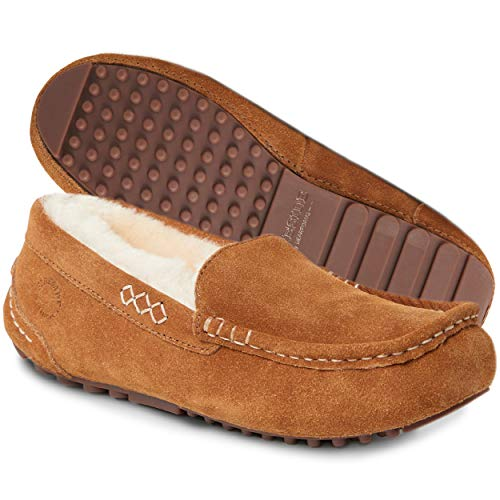 Dearfoams Women's Fireside Water Resistent Mel Shearling Moccasin Slipper, Chestnut, 8