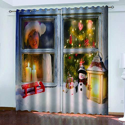 MMHJS Cortinas De Tela Impresas En 3D De Navidad, Cortinas Impermeables Y De Aislamiento Térmico, Cortinas Verticales De Sombra De Balcón Y Dormitorio De Jardín (2 Piezas)