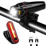Kit Luz Bicicleta Delantera Recargable USB - Potente Combinación De Foco Delantero Y Luz Trasera De Bicicleta LED Luces MTB O Carretera para Bicicleta Carretera y Mountain-fácil de Encajar