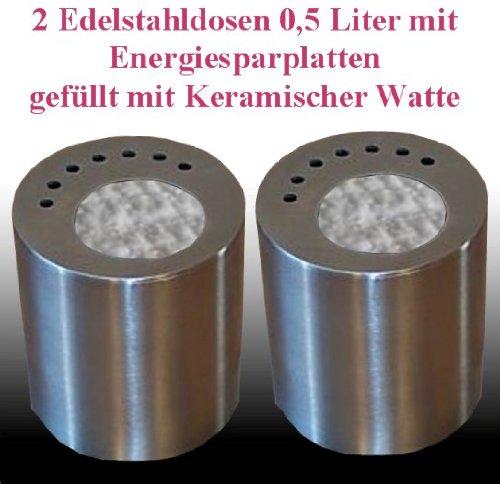 Cheminées Allemande 2 bidons de carburant en acier inoxydable (0,5 litres, vide) avec une énergie plaque de céramique d'épargne et au bâton