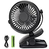 USB Fan, Telgoner Quiet Portable Clip Personal Mini Desk Fan with Rechargeble Battery, 3 Speed 360 Adjustable Cooling Desktop Fans Table Fans, Perfect for Baby Stroller, Traveling, Camping, Fishing, Office, Picnic