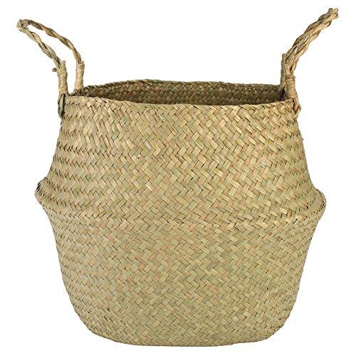 BUNITA,Flower Pot Basket Straw Folding Storage Baskets Vase Hanging Baskets Home Flower Storage Basket Garden Pot Planter Organization,hanging basket
