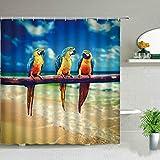 AIDEMEI Papagei Duschvorhänge Ozean Wasserfall Strand Tropische Palme Landschaft Stoff Vorhang grüne Pflanze Vogel Druck Badezimmer Dekor 180X180CM