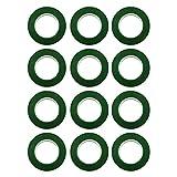 Baoblaze 12 PCS Nastro per Fiorista Fiocchi Stelo Nastro Fascia Rotolo Accessori di Steli di Bouquet novità Floreali - Verde Scuro