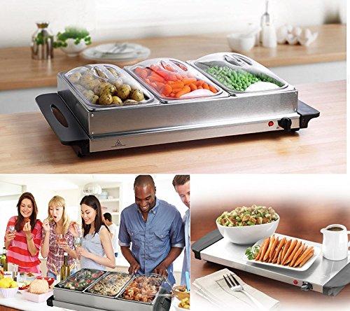 Servidor de buffet bandeja de calentamiento Calentador de alimentos bandejas plato caliente 3Pan 200W acero...