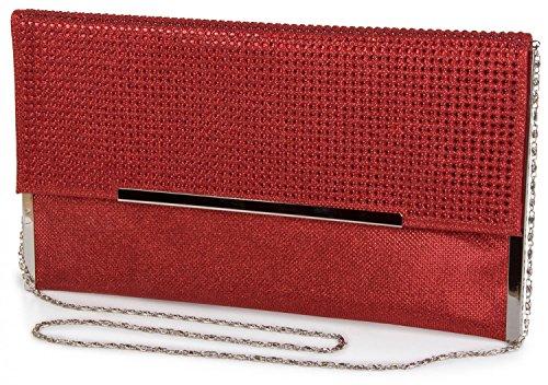 styleBREAKER glitzernde Clutch, Abendtasche mit vielen Strasssteinen, Gliederkette und Trageschlaufe, Damen 02012045, Farbe:Rot