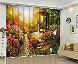 RYQRP Vorhang Blickdicht Blumen Und Pavillons 2er Set Gardine Polyester Thermovorhang Lichtdicht Verdunkelungsvorhang mit Haken für Schlafzimmer Kinderzimmer Wohnzimmer Dekoration 140x160cm