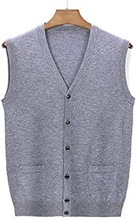 Bienwwow - Cardigan da uomo, 100% lana, scollo a V, lavorato a maglia, vestibilità rilassata, senza maniche, con bottoni
