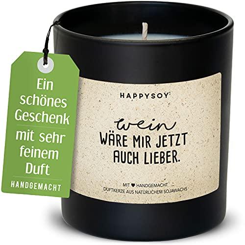 Happysoy Divertida vela perfumada en vaso de cristal con texto de cera de soja, hecha a mano en Alemania, bonita idea de regalo para mejor amiga amigo, mamá, idea de decoración, mensaje de vino, vino