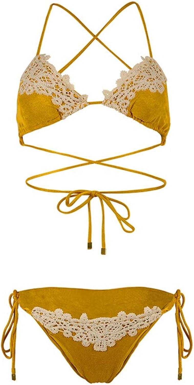 ZXCC Lace Swimsuit Female, Sexy Straps Split Beach Swimsuit (color  Yellow) (color   Yellow, Size   L)