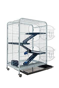 Cage Tower équipée pour Chinchilla, Cochon d'Inde, Furet. Forme verticale, sur roulettes. 3 plateformes modulables. Coloris Blanc et Bleu