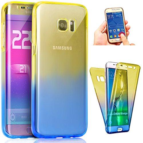 Coque Galaxy S6 Edge Plus,Intégral 360 Degres avant + arrière Full Body Protection Couleur de dégradé Transparente Silicone Gel TPU Souple Housse Etui Case Coque pour Galaxy S6 Edge Plus,Bleu Jaune