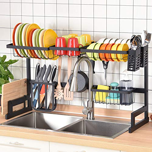 Large Capacity 2-Tier Over Sink Dish Rack, Sink Organize Stand Shelf, Dish Drying Rack with Utensil Holder&Hooks, Kitchen Counter Supplies Storage for Plates Bowls Pots, Black