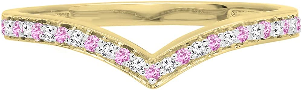 Dazzlingrock Collection 14K Pink Sapphire & White Diamond Wedding Stackable Band Guard Chevron Ring, Yellow Gold, Size 8