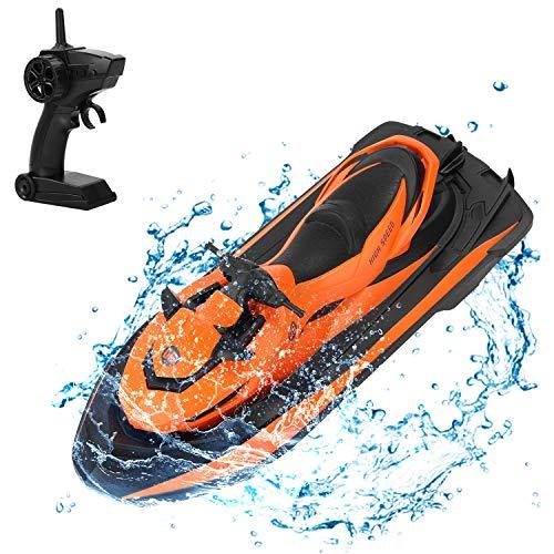 UKing Ferngesteuert Boot, RC Boote für Pools und Seen, 10 km/h 2,4 G HZ Elektrisches Mini-Wasserfahrzeug-Boot für Kinder und Erwachsene, mit wasserdichter und integriertem LI-Ion-Akku rc Schiff