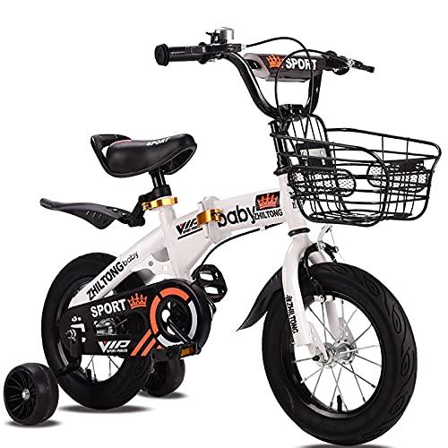 Bicicleta para Niños Bicicleta Plegable para Niños Niñas Bicicleta De Estilo Libre 12 14 16 Ruedas De 18 Pulgadas Bicicleta para Niños Pequeños con 2 Ruedas De Entrenamiento,Blanco,18in