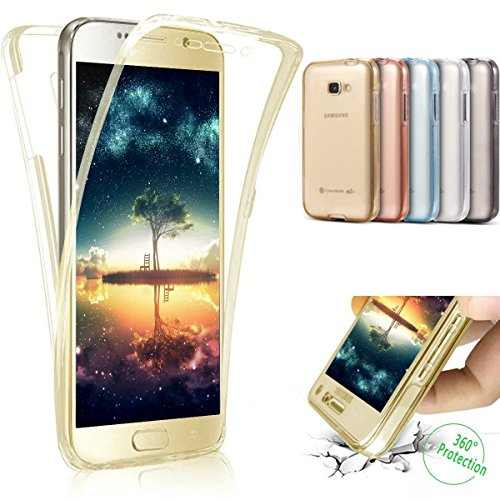 Coque Galaxy A5 2016,Etui Galaxy A5 2016,Intégral 360 Degres avant + arrière Full Body Protection Transparente Silicone Gel TPU Souple Housse Etui de Protection Case Coque pour Galaxy A5 2016,Or