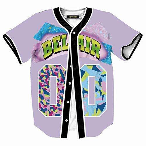 HOP FASHION Womens 90s Bel-Air Birthday Party Baseball Jersey Short Sleeve Hip Hop 00 Print Button Dance Team Uniform Tops Shirts HOPM007-#00 Lavender-XL
