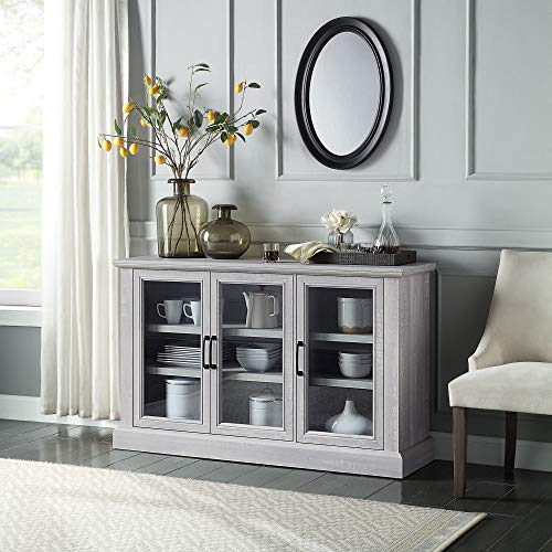 """BELLEZE Liam 55"""" Rustic Farmhouse Wood Sideboard Universal Stand Buffet Cabinet Living Room Glass Storage, Stone Grey"""