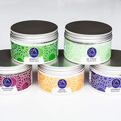 Absolute Aromas Sels de Bain d'Epsom Ensemble - 5x 300g Destress, Detox, Lavender, Mobilité et Relaxation - Sulfate de magnésium infusé avec 100% Pure d'Huiles Essentielles