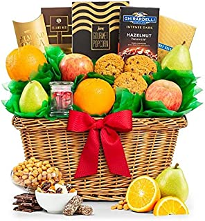 GiftTree Five Star Premium Grade Fruits Basket | Includes Pears, Apples, Oranges | Enjoy Almond Roca, Honey Roasted Peanut...