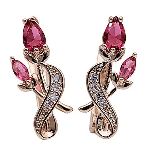 XPT Pendientes elegantes para mujer, con forma de rosa y circonita cúbica, con diseño de flores, color rojo