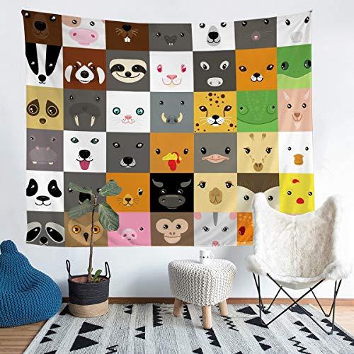 Tapiz para colgar en la pared, diseño de rana de llama, panda para niños y niñas, animales salvajes, manta de pared colorida para decoración de vida silvestre