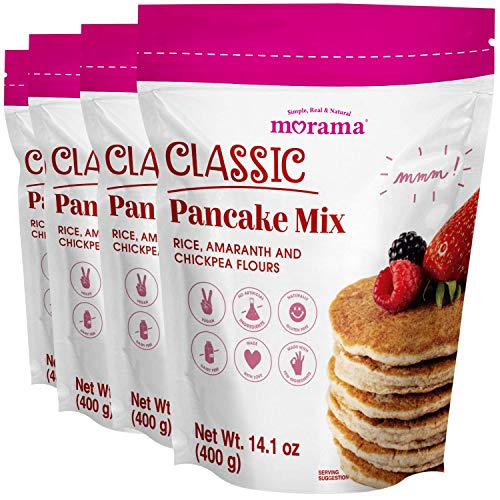 Gluten Free Pancake Mixand Waffle Mix MORAMA, 14.1 Oz (Pack of 4) -Vegan, Dairy Free& Healthy Pancake Mix Pantry with All Natural Ingredients for Classic Breakfast Pancake, Waffle and Baking Mixes