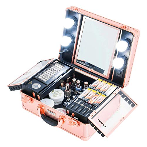 Kemier Makeup Train Case - Cosmetic Organizer Box Makeup Case with Lights and...