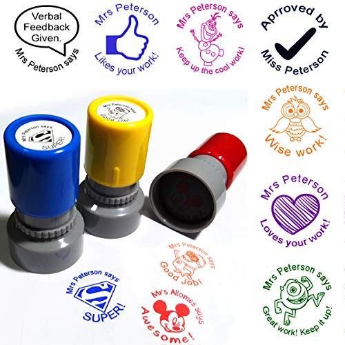 Set of 3 Custom Teacher Name Stamp You Pick Image Color...