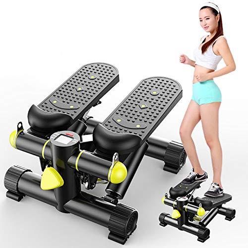TopJiä Mini Stepper,kardio Fitnessgerät,up-down-Stepper,mit Trainingsbändern Swing Stepper,für Zuhause Büro,schwarz