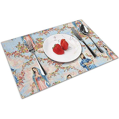 place mats Nuestra Señora Virgen de Guadalupe Cielo Colorido Mantel Individual Lavable, Rectangular, 30 x 45 cm (Juego de 4)