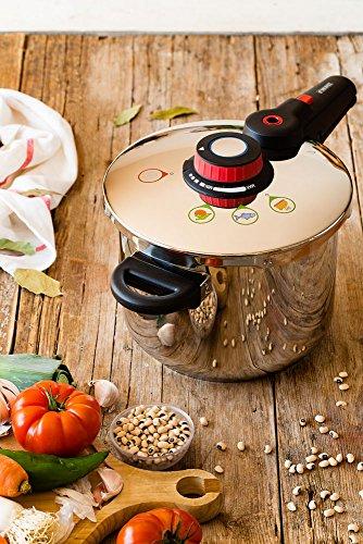 Monix Selecta Duo Set ollas a presión rápidas 4 y 6 litros con Sistema de selección de Alimentos y Cierre automático, Acero INOX 18/10, Plata, 2 Unidades