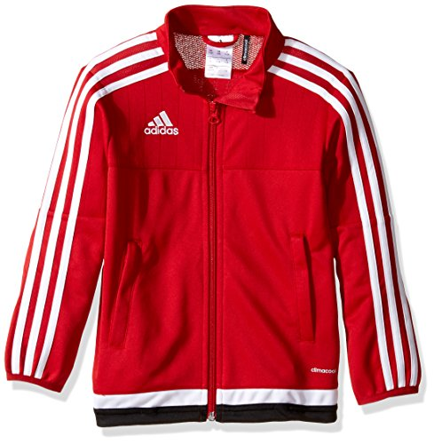 adidas Kids' Soccer Tiro 15 Training Jacket, Power Red/White/Black, Small