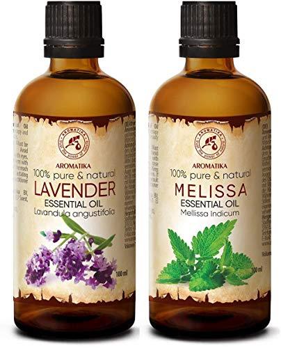 Aceite de Lavanda 100ml y Melisa 100ml - Aceites Esenciales Natural 100% - Melissa Indicum - Aceites para Aromaterapia - Difusor - Lámpara Aromática - Buen Sueño - Calmante - Cuidado Piel y Cabello