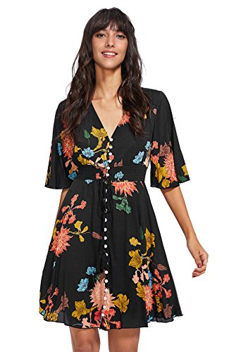 Milumia Women's Boho Button Up Split Floral Print Flowy Party Dress Large Black
