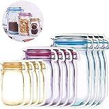 KETIEE Bolsa de Botella Mason 12 Piezas Reutilizables Bolsas de Almacenamiento para Botes de Alimentos Bolsas de Galletas Merienda Nueces Organización del Hogar, A