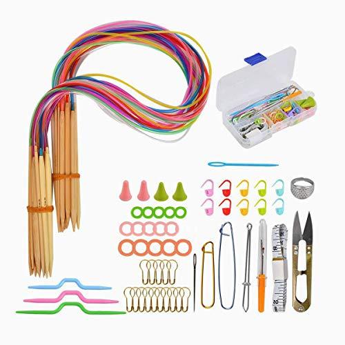 Agujas Punto Circular,RoadLoo 18 Pairs 2 mm - 10 mm Round Color Tube Bamboo Agujas Knitting Needle Set Agujas Tejer Circulares Bambú Circulares Knitting Needle Agujas con Ganchillos Accesorios (76)