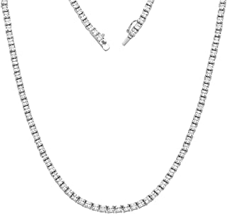 Sterling Silver 3mm Square Cubic Zirconia Tennis Bracelet/Necklace Available in 7