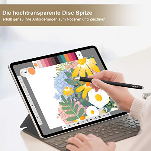MEKO Stift für Tablet [2021 Regenbogen 2th Serie] 2 in 1 Universal Disc Touch Pen 100% kompatibel mit Allen Tablets Touchscreen iPhone iPad Surface Huawei usw, 3 Ersatzspitzen(Schwarz)