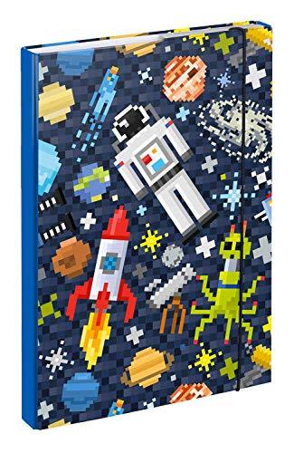 Baagl Heftbox für Schulranzen A4 - Sammelmappe für Kinder mit Gummiband und Innenklappen - Heftmappe, Sammelbox mit Gummizug für Jungen (Space Game)