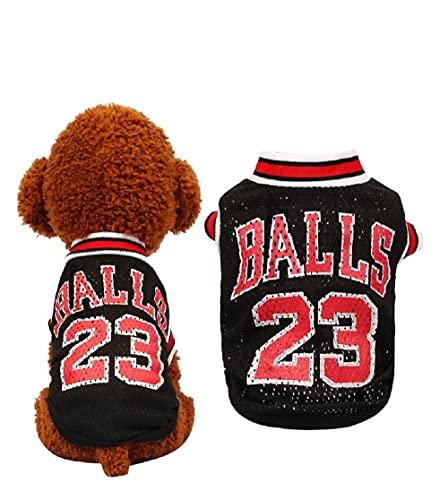 HFangWang Kleidung für kleine Hunde,Hunde Trikot Fußball Basketball Jersey T-Shirt Welpen T-Shirt für Hunde Kostüme Weltmeisterschaft Mannschaft Kleidung Haustierhundekleidung,(S Schwarz)