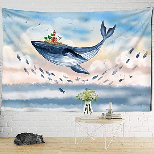 N/A Tapices 3D Impresión Pintura al óleo Gran Tapiz de Ballena Dibujos Animados fantasía impresión Dormitorio Infantil tapices para Colgar en la Pared Manta psicodélica Bohemia