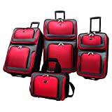 U.S. Traveler New Yorker Lightweight Expandable Rolling Suitcase Set 4-Piece, Red